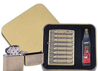 Зажигалка бензиновая в подарочной коробке + баллончик бензина Бомбы №XT-4396-2