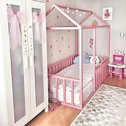 Кровать детская домик Topovik Розовая W2