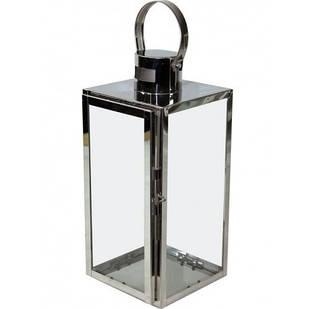 Ліхтар декоративний металевий прозорий скляний