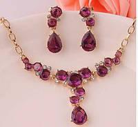 Позолоченный комплект украшений серьги и ожерелье код 618
