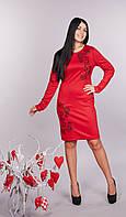 """Модное молодежное платье - футляр """"Виктория"""" с вышивкой, фото 1"""
