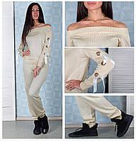 Женский вязаный костюм бежевого цвета с лентами на рукавах Winter C505-3  Размер 44- 7a90fdd7827