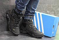 Кроссовки зимние мужские в стиле Adidas Terrex 465, нубук, натуральный мех код SD-6960. Черные с желтым