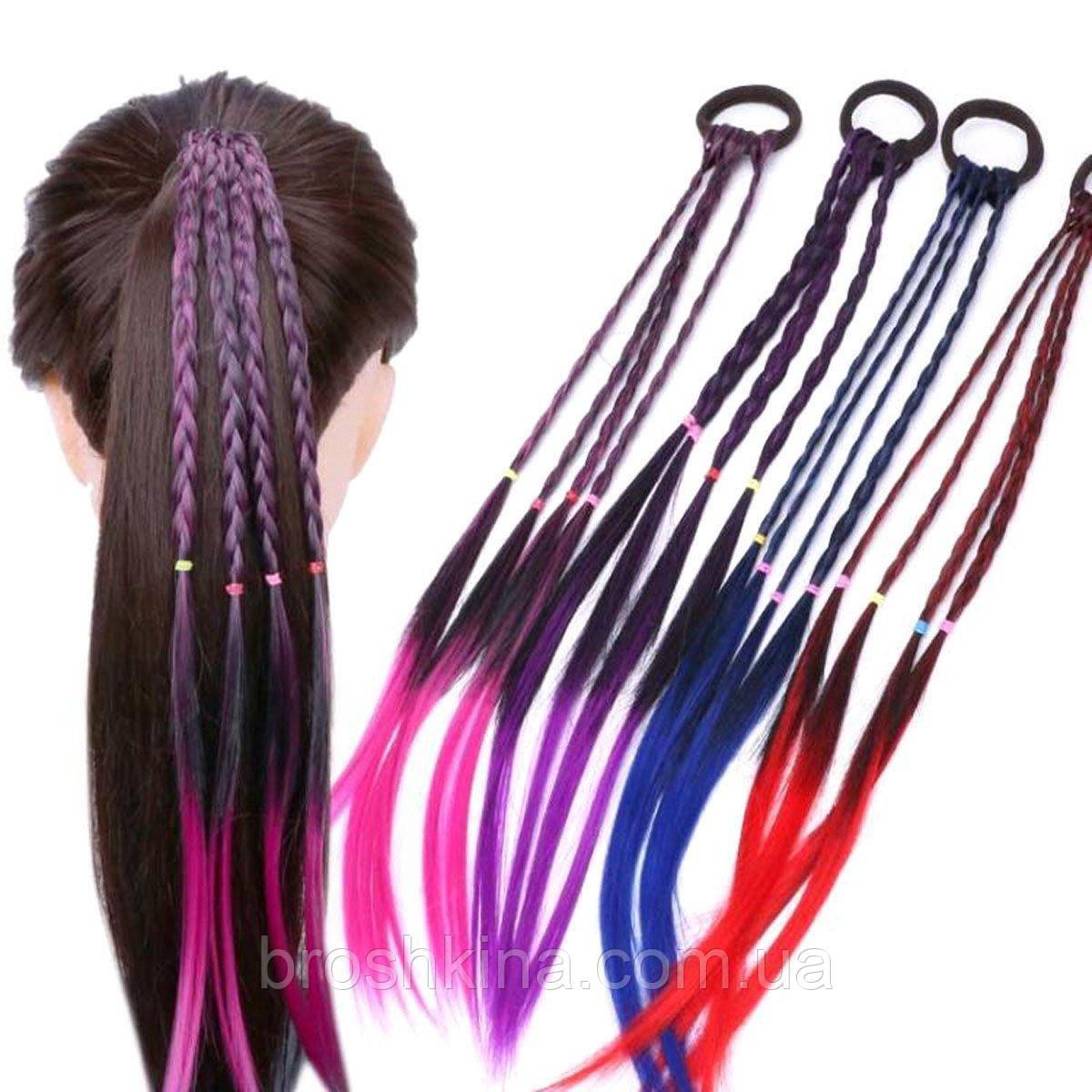 Резинки для волос с цветными косичками 35 см 12 шт/уп