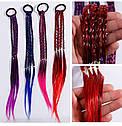 Резинки для волос с цветными косичками 35 см 12 шт/уп, фото 2