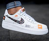 """63e2f4f0 Мужские Кроссовки Nike Air Force 1 '07 Premium """"Just Do It"""" White (в ..."""