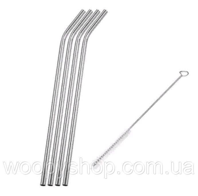 Трубочки металлические 4шт +1 ерш для чистки. Многоразовые трубочки