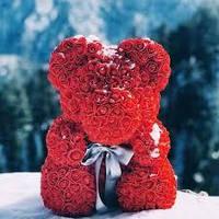 Красный Мишка из роз 25 см Лучший подарок девушке!