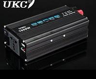 Автомобильный инвертор 1000 Вт UKC 1000W 12V-220V (black series), фото 1