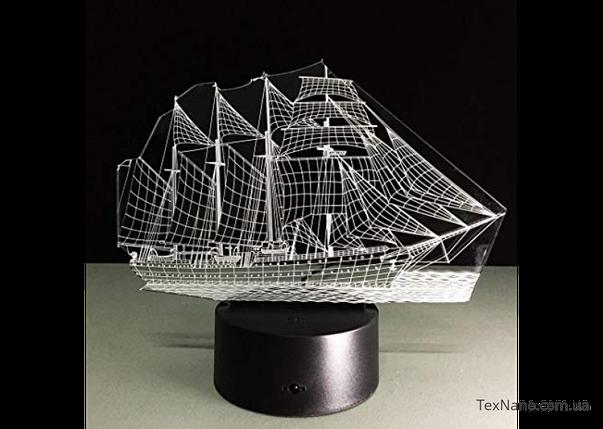 """Уютный прикроватный светильник-ночник """"Корабль"""" 1098 с 3D изображениям, фото 2"""
