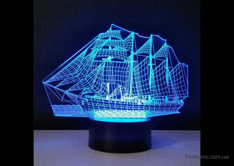 """Уютный прикроватный светильник-ночник """"Корабль"""" 1098 с 3D изображениям"""
