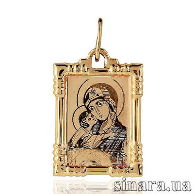 Золотая ладанка Божия матерь с младенцем 6800