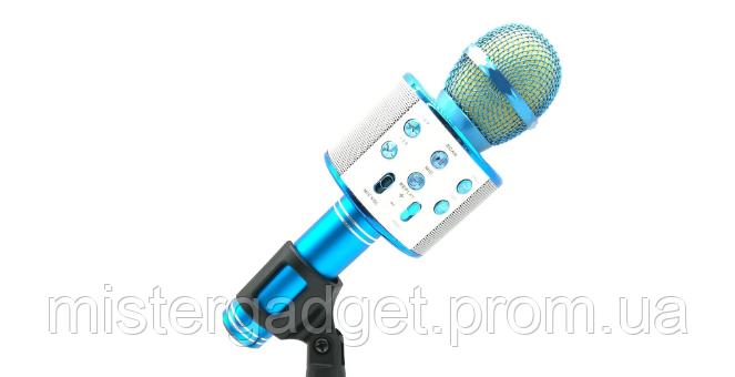 Беспроводной микрофон для караоке WS-858 Bluetooth BLUE, фото 2