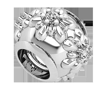 Бусина серебряная Шарм Цветы с камнями Bs_92207