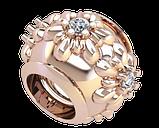 Бусина серебряная Шарм Цветы с камнями Bs_92207, фото 2