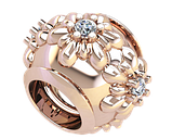 Намистина срібна Шарм Квіти з камінням Bs_92207, фото 2