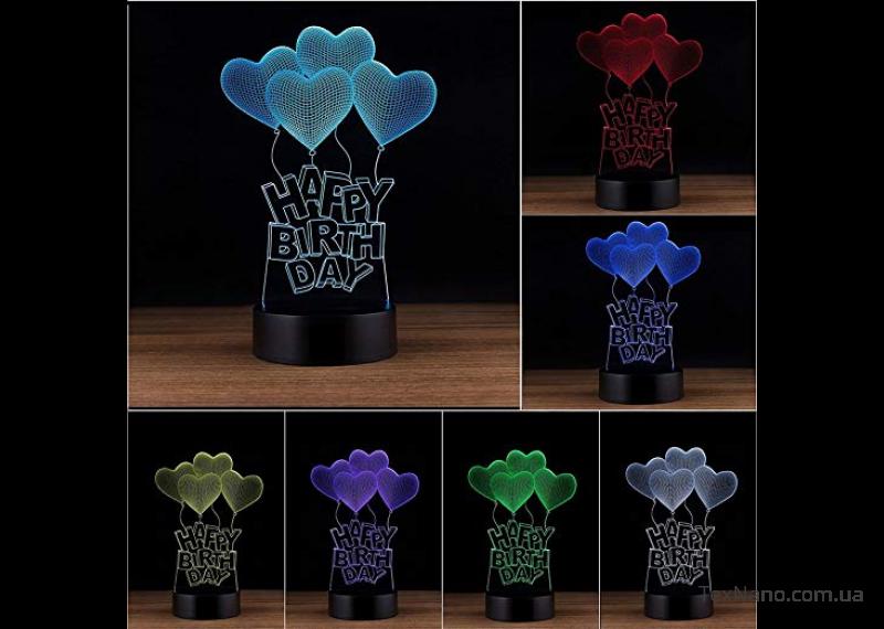 """Идеальный подарок на День Рождения 3D LED светильник 1115 """"Happy Birth day"""""""