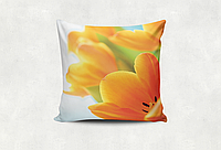 Подушка декоративная с принтом Весенние тюльпаны