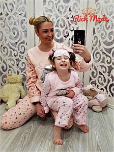 Теплы домашний костюм для мамы и дочки