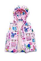 Демисезонная куртка-жилет (трансформер) для девочки. Розовая. 86 см