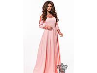 Женское вечернее платье длинное в пол 26145 / размер 42,44,46 / цвет пудра