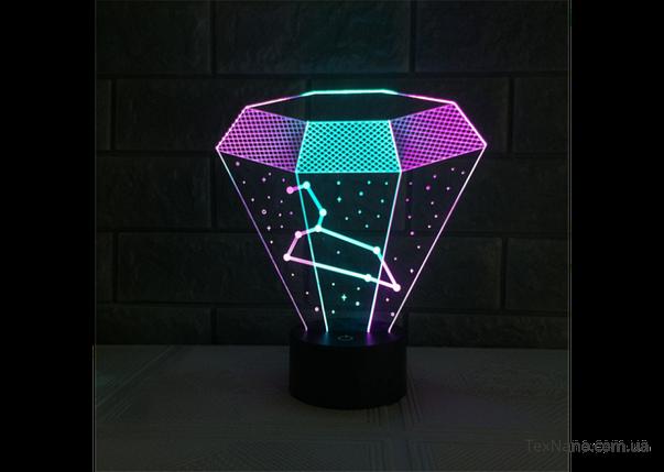"""Стильный 3D светильник-ночник 1092 """"Алмаз"""" LED светодиодная лампа, фото 2"""