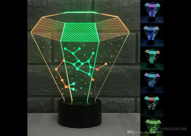 """Стильный 3D светильник-ночник 1092 """"Алмаз"""" LED светодиодная лампа"""