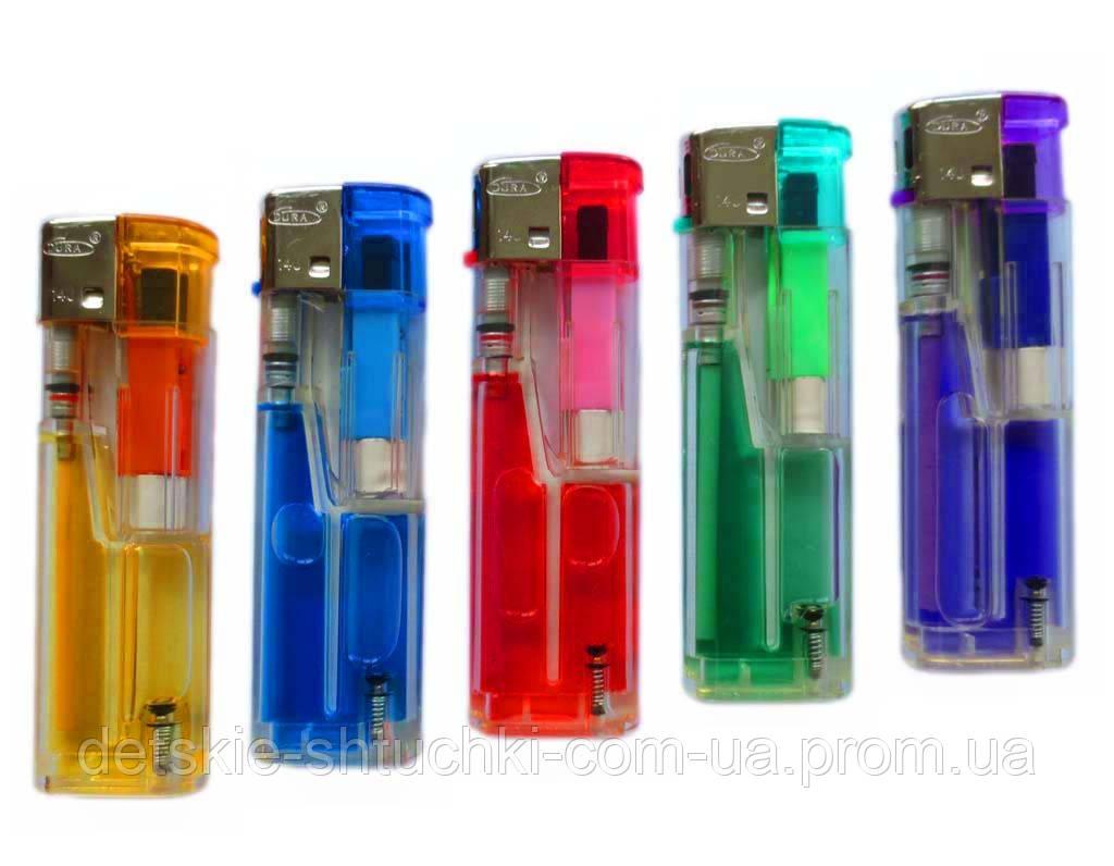 Зажигалка 6040 пьезо (цветная,прозрачная)