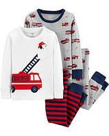 """Набор с двух пижамок 4 в 1 """"Пожарная машина"""" Carter's для мальчика красный 2Т/86-93 см"""