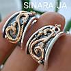 Розкішні срібні сережки з золотом, чорнінням і фіанітами, фото 9