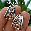 Розкішні срібні сережки з золотом, чорнінням і фіанітами, фото 5