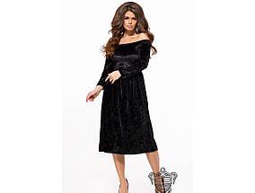Женское вечернее платье из бархата 26151 / размер 42-44, 44-46 / цвет черный