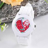Женские часы с силиконовым ремешком (цвет белые с сердечком), фото 1