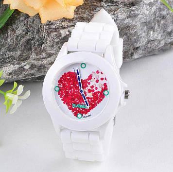 Женские часы с силиконовым ремешком (цвет белые с сердечком)