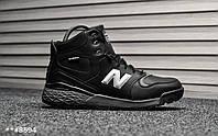 Мужские зимние ботинки на меху в стиле New Balance, черные с серым. Код товара Т - 8594