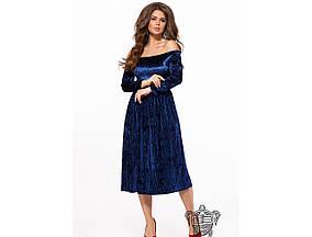 Женское вечернее платье из бархата 26151 / размер 42-44, 44-46 / цвет синий