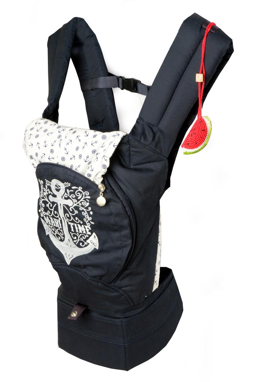 """Эргономический рюкзак """"Якорь"""", кенгуру. С сеточкой для проветривания спинки (темно-синий). НОВИНКА!"""