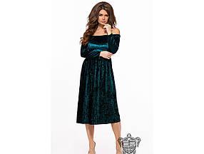 Женское вечернее платье из бархата 26151 / размер 42-44, 44-46 / цвет бутылка