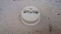 Ретро выключатель керамический белый глянец (Двухклавишный)