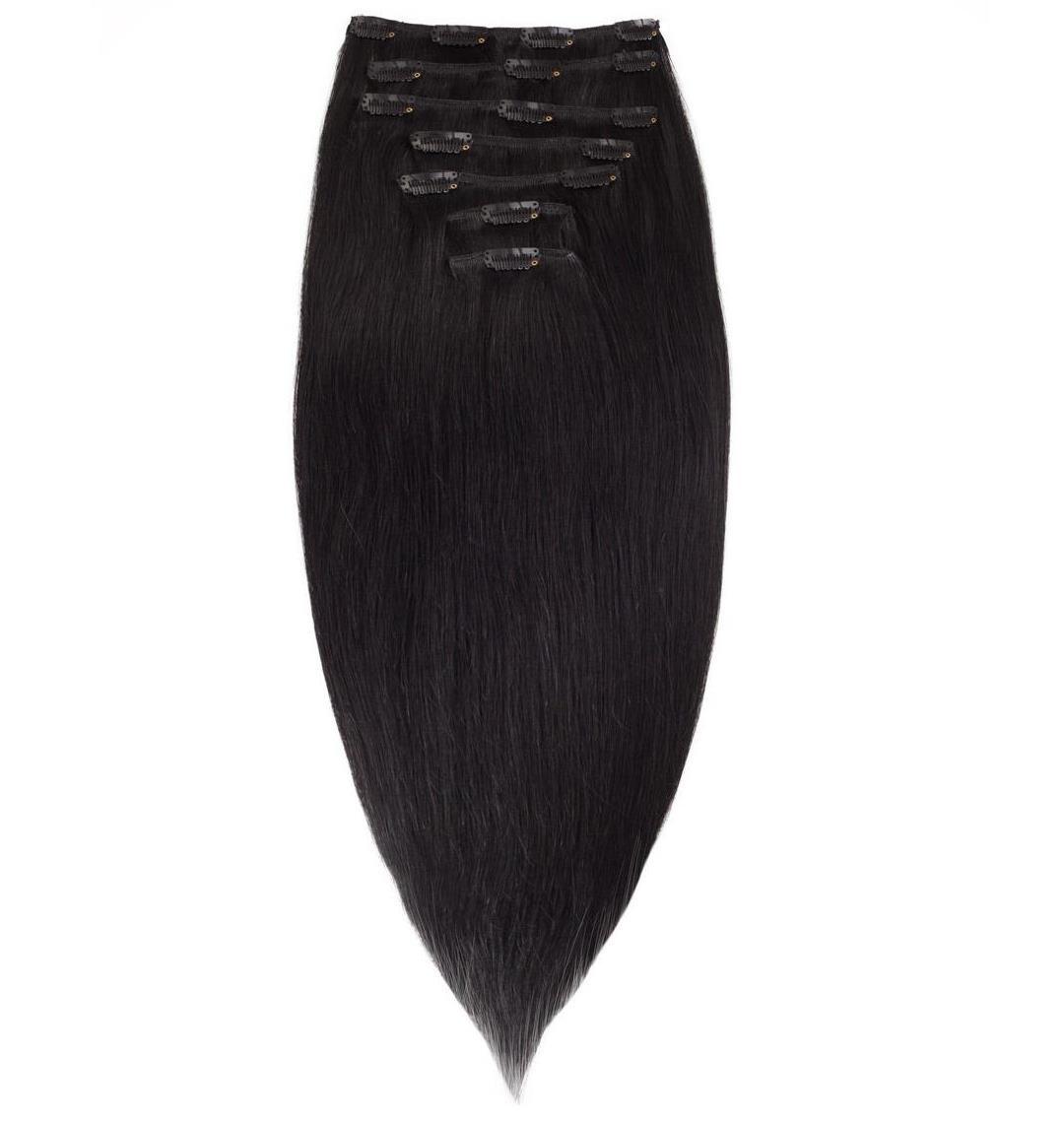 Волосы на заколках 60 см. Цвет #01 Черный, фото 1