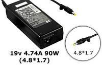 Блок питания для ноутбука HP 19V, 4.74A, 90W, 4.8*1.7мм, 3 hole, black (без кабеля!)