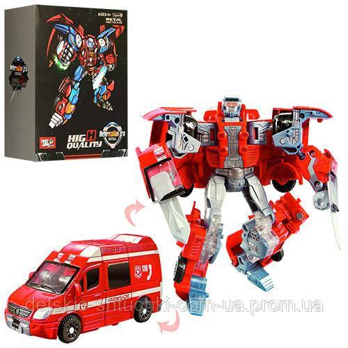 Трансформер J8015B мет., робот + машинка, кор., 21,5-29-11 см.
