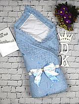 """Летний конверт-плед """"Аист"""" с нарядным бантом для новорожденного. Синий"""