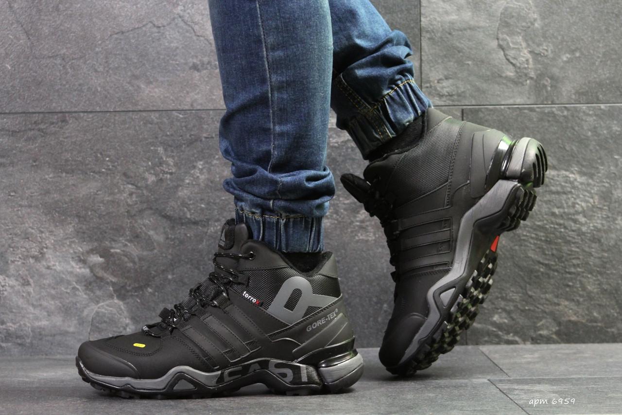 Высокие зимние кроссовки Adidas Climaproof,нубук,черные с серым