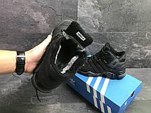 Высокие зимние кроссовки Adidas Climaproof,нубук,черные с серым, фото 2