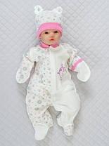 Комбинезон с шапочкой Бегемотик (розовый) для новорожденных. Размер 56-62