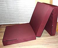 Матрас раскладной 70*195 см, раскладушка, пуф кровать бордовый, фото 1