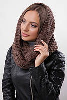 Зимний вязаный снуд / хомут / шарф Torio, коричневый