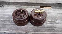 Ретро выключатель керамический коричневый  глянец с ручка метал (Двухклавишный)