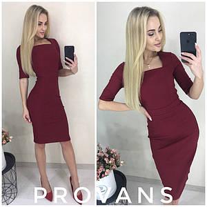 Женское облегающее стрейчевое однотонное миди платье с коротким рукавом (стрейч-джинс отлично тянется) 2 цвета
